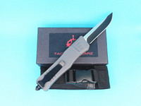 Wholesale grey knife for sale - Group buy Allvin Grey Handle Large Size Auto Tactial Knife C Single Edge Drop Point Fine Black Blade Outdoor Survival Tactical Gear