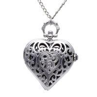 старинные часы оптовых-Унисекс Карманные Часы Цепи Кварц Старинные Серебряные Сердца Кулон