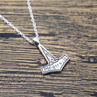 Wholesale Costume Silver Necklace - 12pcs lot Thor's Hammer Necklace Viking Jewellery Rune Mjolnir Norse Mythology Thor Costume Cosplay silver tone
