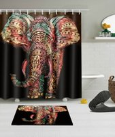 Wholesale shower curtains for sale - Group buy Mandala Elephant Fabric Bathroom Waterproof Shower Curtain with Bath Mat