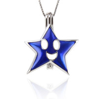 Wholesale Pearl Smile - Lovely 2 pcs sterling silver Smiling Star Pearl Cage pendants, 23.6*19.8*9.4mm, Fashion Jewelry, Jewelry Making