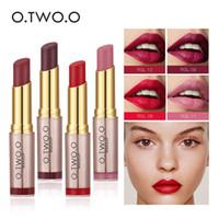 Wholesale best lip colors online - O TWO O Hot Beauty Makeup Lipstick Popular Colors Best Seller Long Lasting Lip Kit Matte Lip Cosmetics