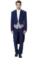 серебряный флот оптовых-2019 новое прибытие темно-синий смокинг мужской три части 2018 новый свадебный костюм фрак смокинг брюки костюмы Мужские костюмы для свадьбы