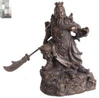 guan yu estátua venda por atacado-China Latão Cobre Nove Dragão Guan Gong Guan Yu Guerreiro Deus Segure Espada Estátua