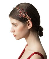 headbands de noiva headbands venda por atacado-Nupcial vermelho strass galho flor headband headpiece casamento nupcial