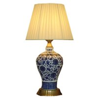 Wholesale chinese beds online - Chinese Ceramic Porcelain Bedroom Bedside Table Light Classical Bronze base Study Room Table Lamp Romantic Fabric Desk Lamp