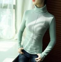 blusas de gola alta venda por atacado-Estilo coreano Camisola Feminina Macio Skinny Inverno Mulheres Gola Alta Bodycon Básico Pullovers Manga Comprida Puxar Femme Casaco Feminino Top FS5770