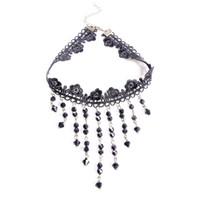 gargantilla gótica vampiro al por mayor-Moda de mujer Vintage Gothic Punk Crystal Gargantilla Collar Negro Tassel Vampire Steampunk Jewelery