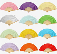 Wholesale paper chinese folding fans - Handmade Preschool Articles Fan Color Painting Diy Paper Fans Blank Folding Without Wearing Make Up For Kids Chinese 1 5ky jj
