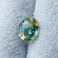 gelbe saphirsteine großhandel-2.69 Karat natürliche doppelte Farbe Saphir lose Stein grün / gelb Stein Ring Oberfläche NGTC Zertifikat Crystal