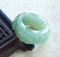jade grüner silber ring großhandel-Echte A Emerald Green Jade Jadeit Daumenring Pixiu Flower