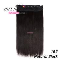 1b aus schwarzem großhandel-90g 100g 1pcs / set 18 22inch remy Menschenhaar-Clip in Haarverlängerungen # 1b / off schwarzes gerades Haar freies Verschiffen