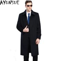 Wholesale Plus Size Long Pea Coat - AYUNSUE Mens Cashmere Coat Winter Jacket Men Manteau Homme New 2017 Casual X-Long pea coat for men Overcoat Plus Size 4XL LX786
