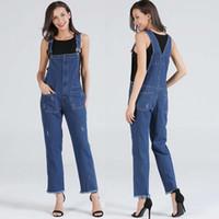 denim jeans cintura ajustável venda por atacado-2018 Outono Estilo Europeu Mulheres Denim Macacões Bolso Cinta Ajustável Romper Cintura Alta Macacão Feminino Menina Calça Jeans Solta