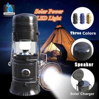 rádio portátil de energia solar venda por atacado-Bluetooth Speaker Portátil Multifuncional Recarregável Solar LED Lanterna de Energia Ao Ar Livre Tenda de Campismo Luz Speakers FM Rádio