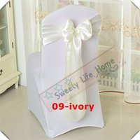 Wholesale ivory polyester banquet chair covers for sale - Group buy Nice Looking Ivory color Satin chair bands Banquet chair sashes for chair cover Hotel decorations Colorful