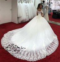 Wholesale muslim girls gown resale online - Princess Vintage Lace Ball Gown Wedding Dresses Plus Size Long Sleeve Crystals Court Train Black Girls African Muslim Bridal Gowns