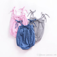 Wholesale Pink Rompers - 3 color 2018 INS new arrivals summer baby girl kids climbing bandage bowknot romper girl kid summer cotton stripe rompers 0-2T