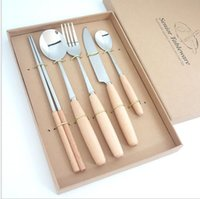 Wholesale Wooden Fork Knife - 5pcs set Dinnerware Sets Japanese Style Wooden Handle Cutlery Set For Party Weddings Favor Gift Utensil Silverware Flatware Set KKA3641