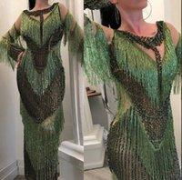 bela sereia de lantejoulas sereia venda por atacado-Vestido de noite Yousef aljasmi Sereia Verde Borlas Contas pretas Vestido longo Jianninaazar kim kardashian Borlas Myriam Fares