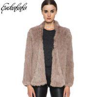 chaquetas de piel de conejo de punto al por mayor-Punto mujeres naturales de conejo 2018 nuevo invierno casual de manga larga densa gruesa suelta prendas de abrigo chaqueta de abrigo de piel Real Y18102601