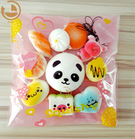 Wholesale mini panda squishy - 10Pcs Jumbo Medium Mini Random Squishy Soft Panda Bread Cake Buns Phone Straps Best Wholesale Price