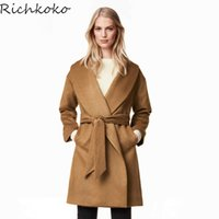 Wholesale women chic hats resale online - Richkoko Autumn Winter New Fashion Warm Long Trench Coat OL Turn Down Collar Loose Blet Coat Casual Chic Women Outwears