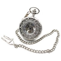 Wholesale silver mens pocket watches - Antique Style Silver Tone Hollow Case Roman Number Dial Hand Wind Mens Mechanical Pocket Watch w Chain Reloj De Bolsillo Gift