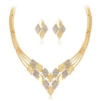 свадебные золотые украшения для невест оптовых-Shevalues New Gold Color  Crystal Bridal Jewelry Sets Gold Chain Big Statement Necklace/Earrings Bride Prom Wedding Sets