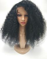 işlenmemiş hazır saç satışı toptan satış-Satışa yeni 100% işlenmemiş bakire remy İnsan saç uzun doğal renk siyah kadınlar için afro kıvırcık tam dantel ipek üst peruk