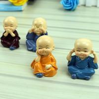 ingrosso ornamenti in miniatura-Figurine di monaci in miniatura Bonsai Decor Mini Fairy Garden personaggio dei cartoni animati action figures statua Modello anima Resina ornamenti 4-5cm giocattoli per bambini