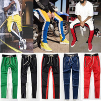 Wholesale polyester poplin - 2018 NEW Justin Bieber Yellow Blue Red White Stripes Splice Mens Sweatpants Hip Hop Fear of God Fog Side Zipper Jogger Pants S-2XL