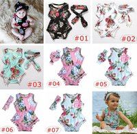 Wholesale Girls Floral Jumpsuits - INS Baby Floral Romper Sets Print Floral Tassels Rompers Bow Headband Kids Summer Jumpsuits Flower Sleeveless Bodysuits Baby Kids Clothing