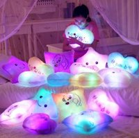 Wholesale LED Flash Light Hold pillow five star Doll Plush Animals Stuffed Toys cm lighting Gift Children Christmas Gift Stuffed Plush toy
