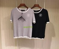 Wholesale crochet t shirt color - High-end customc Women Classic Knit Stretch Embroidered Short Sleeve T-Shirt tops ice slik Women Knitted shirt top grey and black colors