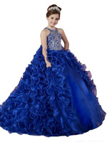vestidos de fiesta reales para niños al por mayor-Lujo Royal Blue 2018 Girls Vestidos del desfile de organza con volantes Cuentas de cristal Princess Ball Vestidos Fiesta de los niños para la boda Vestidos de niña de las flores