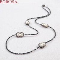 Wholesale peanuts chain for sale - Group buy BOROSA Four Peanut Shape Natural Pearl Beads Necklace Paved Zircon Black Chain With Magnet Clasp Necklace JAB202