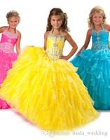 vestidos de concurso de la magdalena amarilla al por mayor-Vestido amarillo lindo de las muchachas del desfile Vestido de fiesta de la magdalena del partido de la princesa Halter Buffed Ruffles para la muchacha corta del vestido bonito para el niño