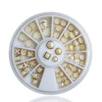 ingrosso perle di colore chiodo art-Perline finte fai da te Multi-color 3D Flat Back Mezze decorazioni unghie artistiche perline in metallo Glitter perline