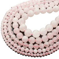 Discount agate flat oval stones 8mm Natural Stone Rose Pink Quartz Rock Crystal Beads 4 6 8 10 12 14mm Stone Loose Beads Fit Diy Bracelet Necklace Jewelry Making