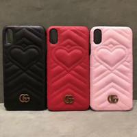 kabartmalı kalp toptan satış-Telefon kılıfı için iPhone XS Max Xr 8 7 6 Kabartmalı aşk kalp kılıfları kapak için Samsung S9 S9plus S8 artı Not 9 8