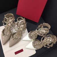 Wholesale river wedding - Classic Top Quality Brand Design Stylish Woman Pointed Patent Leather Shoes With River Shoes Party High Hell Shoes Size 34-42 T180525