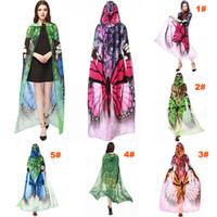 estampado de chifón pavo real al por mayor-Mujeres de la impresión de la novedad de la gasa de la mariposa del cabo bufanda del pavo real del poncho del abrigo del mantón cubierta de la playa bufanda de la gasa del sarong