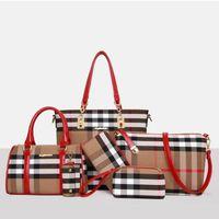 lederpeitsche großhandel-6 teile / satz Modedesigner Marke Handtasche Frauen Lash Paket Pu-lederne Beutel Krokodil Muster Handtasche Mode Umhängetasche Handtasche