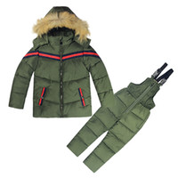 Wholesale 4t boys outerwear - Winter Kids Clothes Boys Girls Winter Down Coat Children Warm Jackets Toddler Snowsuit Outerwear +Romper Clothing Set Russian