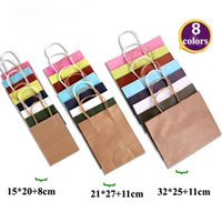 Wholesale babies clothes shops - 8 Colors 3 Size Kraft Paper Handle Gift Bag Present Cosmetics Jewelry Mechandise Shopping Bag Wedding Baby Birthday Party Favor Storage Bags