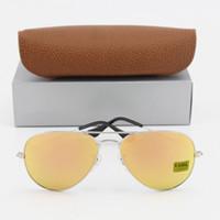Wholesale Best Brand Sunglasses Men - 1pcs Best Quality Designer Pilot Sunglasses For Men Women Vassl Brand Sun Glasses Silver Frame Rose Pink 58mm Len with Brown Box