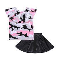 ingrosso boutique-Neonate abiti bambini Camouflage Off Top spalla + Gonne in pelle PU 2 pezzi / set 2018 abiti estivi Boutique bambini Set di abbigliamento C4088
