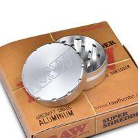 cajas de especias al por mayor-RAW Herb Tobacco Grinder 2 capas 52mm Aviation Aluminium Dry Herb Grinder Spice Trituradora Cigarrillos herramientas con caja
