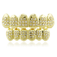 Wholesale gold top custom for sale - Hiphop grillzs white Rhinestone copper Tooth Grills sets or Single Cap Top Bottom Grill for Halloween Jewelry Gifts Bling Custom Teeth